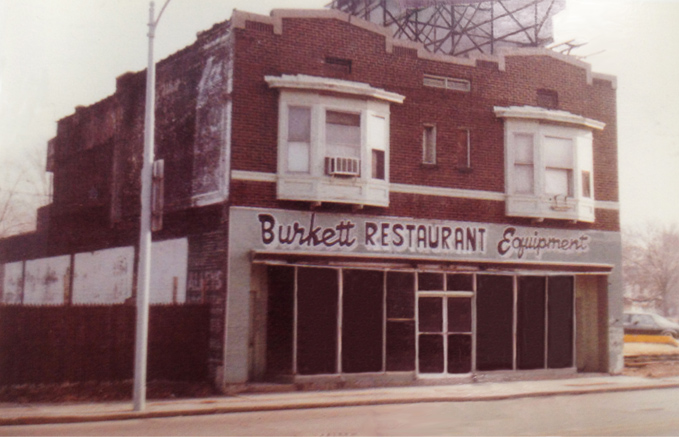 The original Burkett Restaurant Equipment building circa 1977